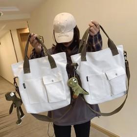 大包大容量慵懒风包包时尚帆布包单肩学生上课斜挎包