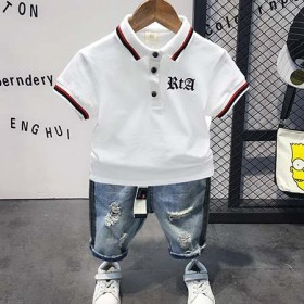 男童夏季短袖套装儿童帅气polo衫透气宝宝夏装20