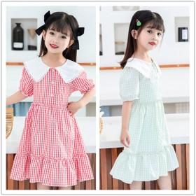 女童雪纺连衣裙格子裙公主裙蛋糕连衣裙2/8岁女童6
