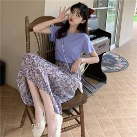 半身裙夏季2021新款温柔风碎花雪纺中长款高腰显瘦