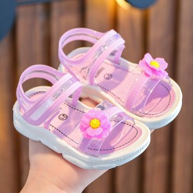 女童凉鞋夏宝宝防水软底公主鞋女孩幼儿休闲沙滩鞋