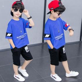 夏季新款夏装童装中大童夏季男孩洋气T恤两件套潮衣