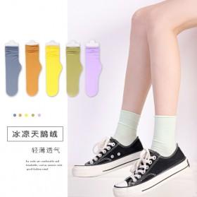 袜子女夏季中筒袜女士长筒丝袜纯色天鹅绒堆堆袜sxl