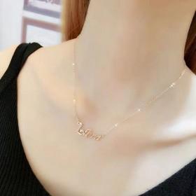 钛钢时尚字母项链女韩国简约少女心玫瑰金ins锁骨链