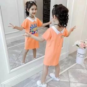 童装女孩夏季中长款上衣洋气睡衣裙子