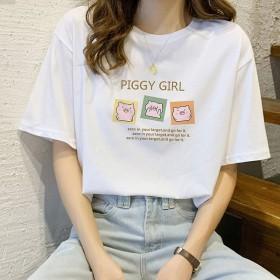 2021夏季韩版短袖t恤女纯棉宽松百搭白色上衣