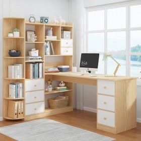 书桌简约家用学生书桌书架组合简易卧室写字桌电脑桌台