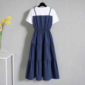 大码时尚吊带假两件中长裙2020夏收腰短袖连衣裙女
