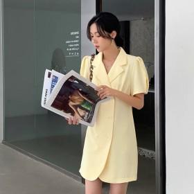 2021复古泡泡袖收腰A字裙双排扣显瘦西装连衣裙