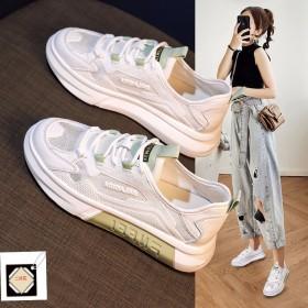 老爹鞋女夏季透气2021新款韩版百搭小白鞋厚底网面