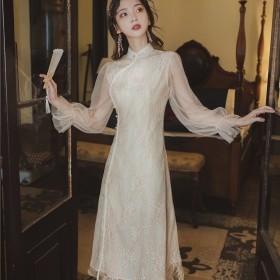 复古民国蕾丝旗袍御姐风改良连衣裙收腰修身气质长裙