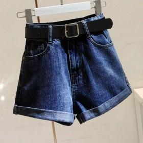 买一送一高腰牛仔短裤女宽松夏季新款百搭显瘦卷边阔腿