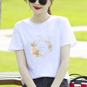2021夏季印花宽松型棉套头白色圆领时尚韩版短袖t