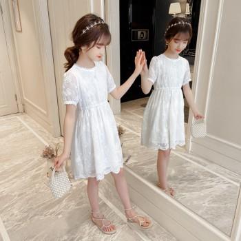 女童洋气蕾丝公主裙大童连衣裙夏小清新白色