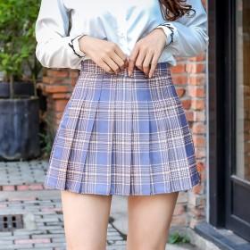 百褶超短裙夏减龄高腰气质薄款jk伞大码格子仙女半身
