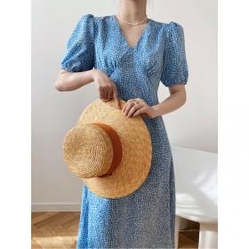 韩版高腰轻熟V领连衣裙夏中长款显瘦茶歇裙泡泡袖
