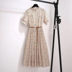 新款碎花雪纺连衣裙女法式中长款泫雅风仙女气质遮肚