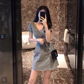 夏装外贸新款复古格子少女连衣裙女显瘦V领收腰