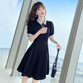 2021夏季新款时尚女装短裙气质蕾丝拼接牛仔连衣裙