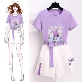 2021夏套装小个子气质洋气减龄女生夏季时尚