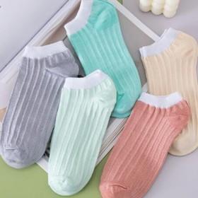 2021新款春夏薄款女士5双装短袜日系条纹休闲船袜