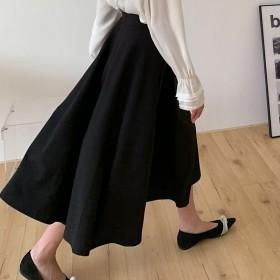 黑色伞裙女夏2021年新款中长裙高腰显瘦a字半身裙