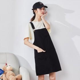 新款半身裙女黑色短款背带裙韩版休闲a字短裙女潮