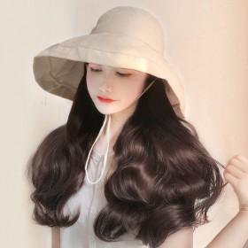 假发帽子长卷发带帽子假发一体女时尚自然全头套假发女