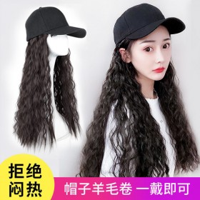 假发女帽子假发一体羊毛卷自然时尚鸭舌帽网红玉米烫全