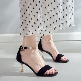 凉鞋仙女风时尚的细跟百搭一字扣高跟鞋夏季20新款女