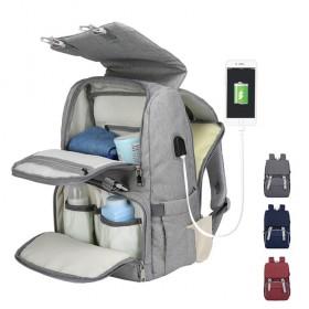 新款双肩妈咪包多功能USB大容量尿布包妈妈包多功能