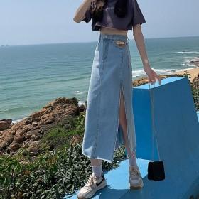 牛仔半身裙中长款女高腰a字包臀裙2021年春季新款