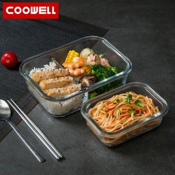 COOWELL可微波炉加热玻璃饭盒上班族分隔型专用