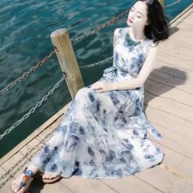 跨境外贸沙滩裙夏季新款印花圆领收腰无袖连衣裙修身大