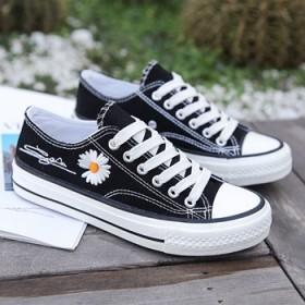 白色帆布鞋女低帮夏透气2021新款大童学生女鞋