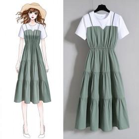 韩版ins裙子大码假两件夏季胖MM收腰显瘦短袖连衣