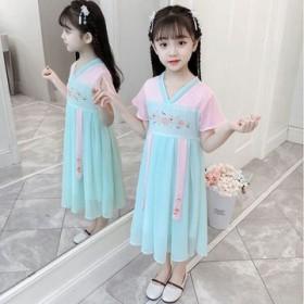 童装女童汉服夏季装风超仙古风改良唐装古装汉服小女孩