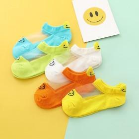 5双套装儿童袜子冰丝船袜卡通笑脸卡丝新款玻璃袜透气