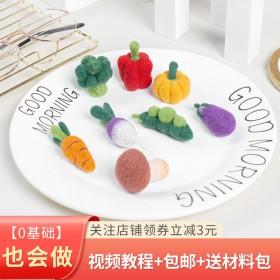 羊毛毡戳戳乐diy材料包小萝卜蔬菜