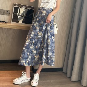 2021夏新款油画风碎花雪纺半身裙中长款高腰显瘦