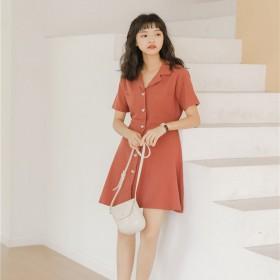 桔梗裙2021夏季西装领单排扣短袖A字连衣短裙