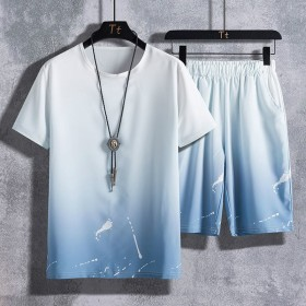 新款冰丝套装男大码休闲运动套装男短袖五分裤两件套