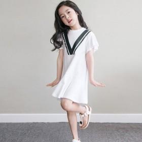 女童连衣裙2021夏季新款短袖纯色荷叶边中大童裙子