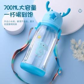 新款大容量儿童防摔水杯男女小学生可爱卡通背带便携吸