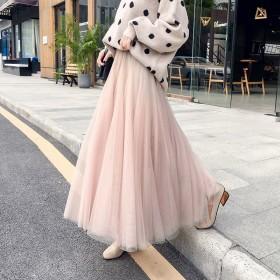网纱裙半身裙女蓬蓬裙中长款公主裙百褶仙女裙气质优雅