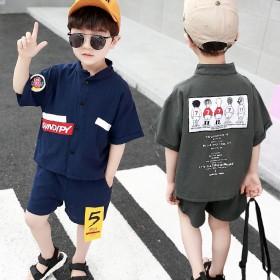 韩国男童衬衫套装两件套夏季帅气短袖儿童夏装2021