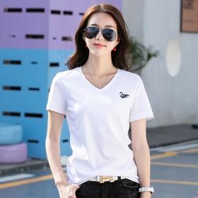 丝光棉短袖T恤女天鹅v领红色2021夏新款双面纯棉