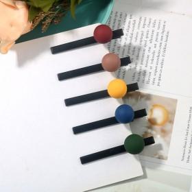 新款马卡龙侧边发夹女彩色喷漆圆球一字夹简约韩国时尚