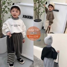 儿童韩版秋冬假两件抓绒卫衣儿童高领帅气长袖上衣百搭