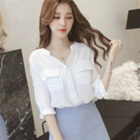 夏季新款韩版棉麻宽松百搭休闲睡衣纽扣外穿纯色衬衫女